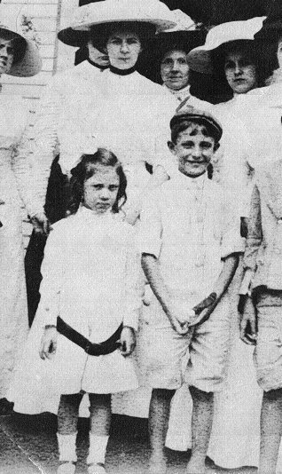 L-R:Front:Helen Russell,Sanders Russell;Rear,marked with 'X':Their mother:Katharine Sanders Russell